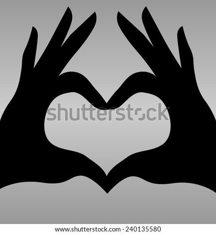 Vector heart sign with hands  - stock vector