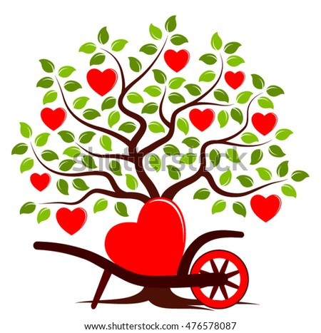 Vector heart on tree