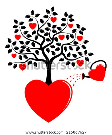 vector heart tree growing from heart and heart watering can isolated on white background
