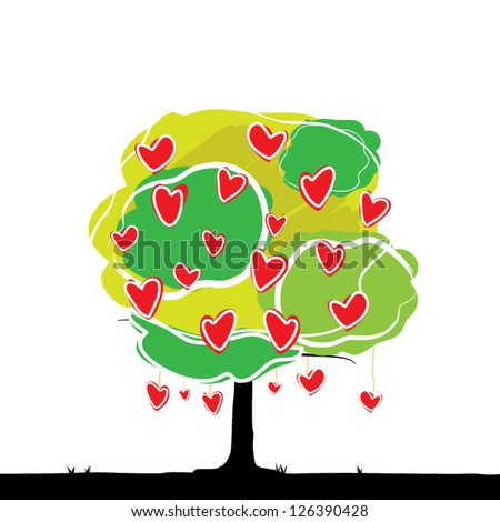 vector heart tree, love concept