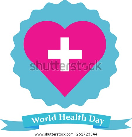 vector heart with cross on unequal round background above ribbon - stock vector