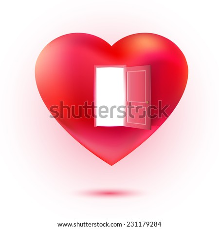Vector heart with open door. Sweet love and invitation concept. Valentines illustration. Waiting love idea. - stock vector