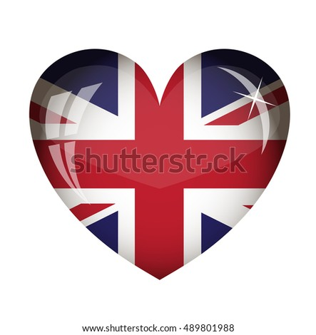vector heart with the flag of Great Britain country