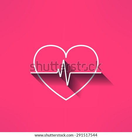 Vector heartbeat medical sign made in modern flat design. Cardilology design element with long shadow. - stock vector