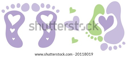 Vector hearts and baby footprints