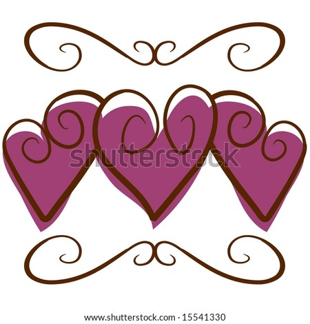 Vector hearts and bow graphic - stock vector