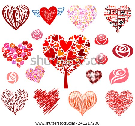 Vector hearts and roses - stock vector