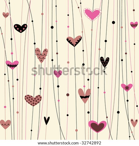vector hearts background - stock vector