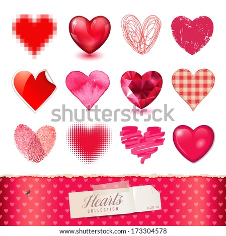 vector hearts collection - 12 detailed items in various techniques - stock vector