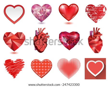 Vector hearts collection. 12 details illustrations in various techniques - stock vector