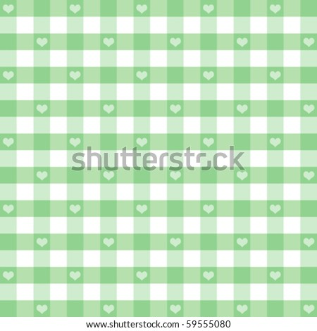 vector - Hearts & Gingham Seamless Pattern. Old fashioned design in pastel green for baby books, scrapbooks, albums & backgrounds. EPS8 file has  pattern swatch that will seamlessly fill any shape. - stock vector
