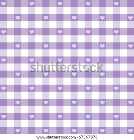 vector -HEARTS & GINGHAM Seamless Pattern. Old fashioned design in pastel lavender for baby albums & scrapbooks. EPS8 compatible file includes pattern swatch that will seamlessly fill any shape. - stock vector