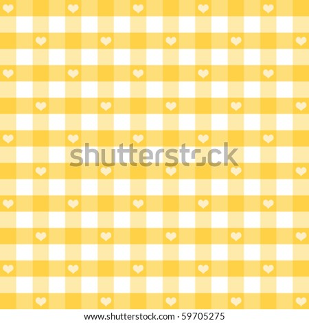 vector - Hearts & Gingham Seamless Pattern. Old fashioned design in sunshine yellow for baby books, scrapbooks, albums & backgrounds. EPS8 file has pattern swatch that will seamlessly fill any shape. - stock vector
