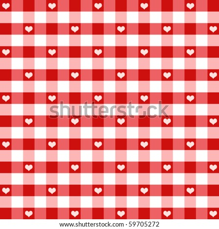 vector - Hearts & Gingham Seamless Pattern. Old fashioned design in Valentine's Day red for baby books, scrapbooks & albums. EPS8 file has pattern swatch that will seamlessly fill any shape. - stock vector