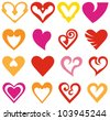 Vector hearts set - stock photo