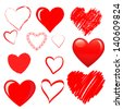 Vector hearts set - stock vector