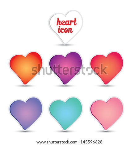 vector hearts set for wedding and valentine design. heart icon set - stock vector