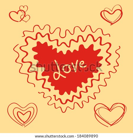 Vector hearts set. The big heart with love text.