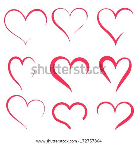 Vector hearts silhouettes - stock vector