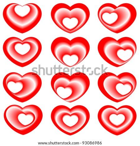 vector hearts symbol - stock vector