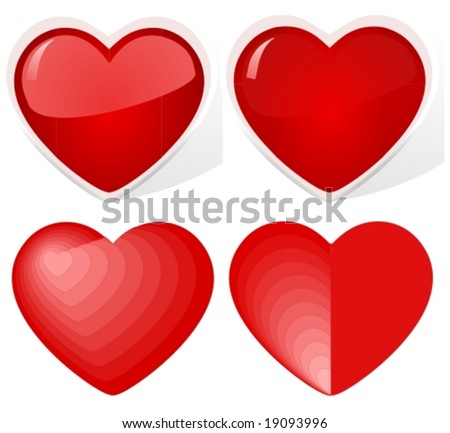 Vector: hearts. The upper two are glossy and have 3d effects. The other two have blending colors and shapes. Jpg version, see my portfolio please. - stock vector