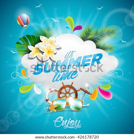 Vector Hello Summer Holiday typographic illustration with tropical plants, flower and hot air balloon on blue background. Eps 10 design. - stock vector