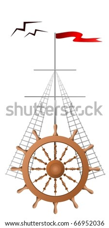vector helm, the mast with a flag and gulls - stock vector