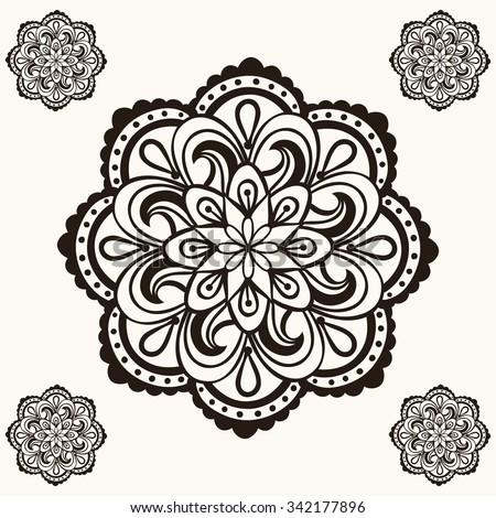 Vector Henna Mandalas Makhenda Bohemian Tattoo Design In Doodle Style Ornamental Tribal Patterned Illustration