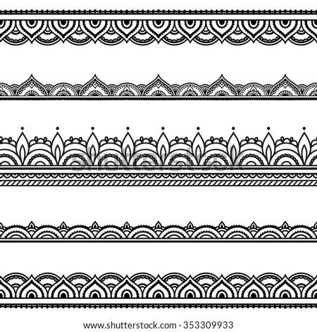 Vector Henna Seamless Borders Mehndi Style Stock Vector 353309933