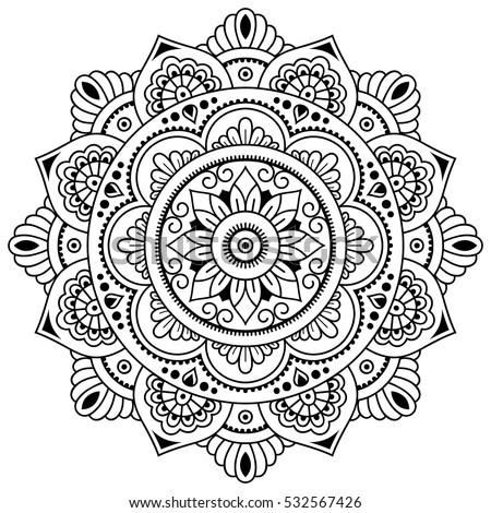 Vector Henna Tatoo Mandala Mehndi Styledecorative Stock
