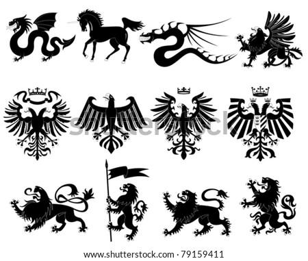 Vector heraldic animals set #2 - stock vector