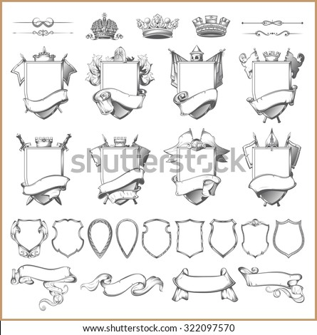 Vector heraldic element collection and Coat of arms template - stock vector