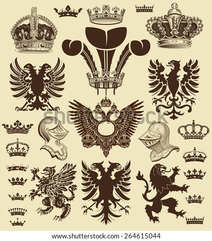 Vector. Heraldic elements - stock vector