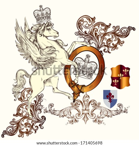 Vector heraldic illustration in vintage style with shield, armor, crown and horse for design - stock vector