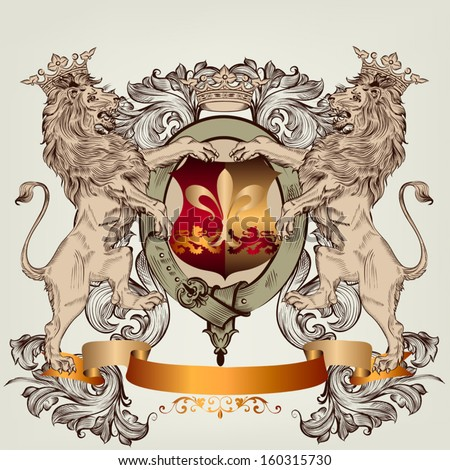 Vector heraldic illustration in vintage style with shield, armor, crown and lions for design - stock vector