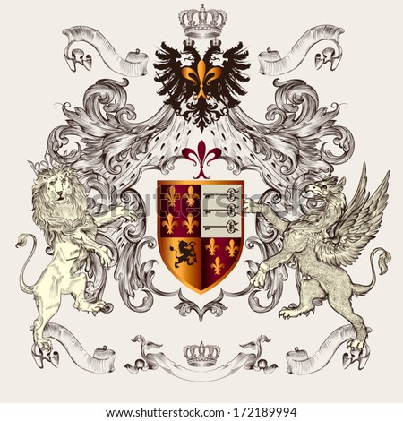 Vector heraldic illustration in vintage style with shield, lion, crown and winged griffin for design - stock vector