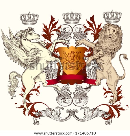 Vector heraldic illustration in vintage style with shield, lion, crown and winged horse for design - stock vector
