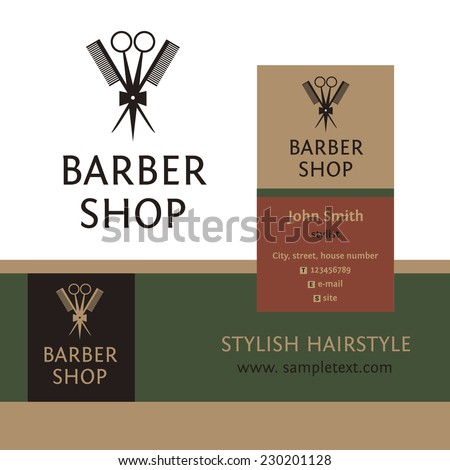 Vector heraldic logo for a hairdressing salon. Business card and banner. Template for corporate style barbershop. Status and elegance. - stock vector