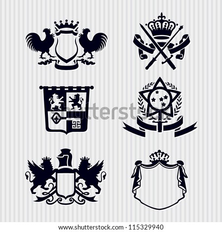 Vector Heraldic Royal Crests Coat of Arms - stock vector