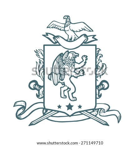 Vector heraldic royal crests coat of arms. Heraldry template on white background. - stock vector