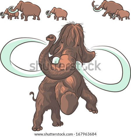 vector herd of mammoths isolated on white background - stock vector