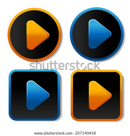 Vector here, read more, next, go or play buttons with arrow - labels, stiskers on the white background