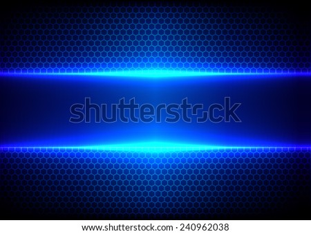 Vector hex and light blue effect  background - stock vector