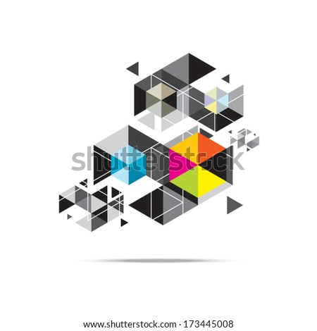 vector hexagon geometry, triangle pattern background design - stock vector