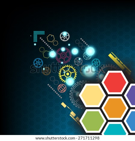 vector hexagon technology communication, abstract background - stock vector