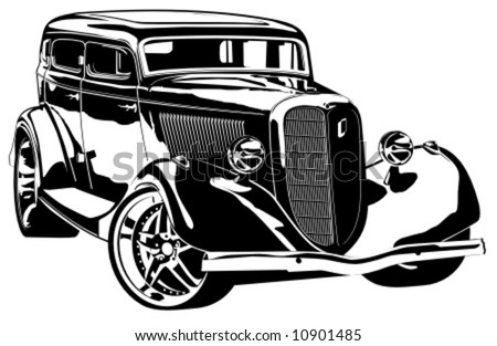 Vector hi-detailed silhouette retro styled hotrod isolated on white background. - stock vector