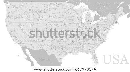 vector high detailed accurate exact united states of america american road motorway map with city labeling