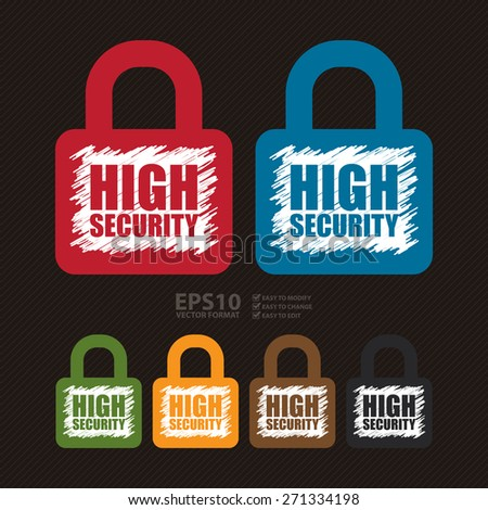Vector : High Security Lock Banner, Sign, Label or Icon - stock vector
