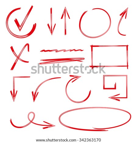 vector highlighter elements, arrows, circles, check marks - stock vector