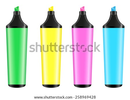 Vector highlighters on white background - stock vector